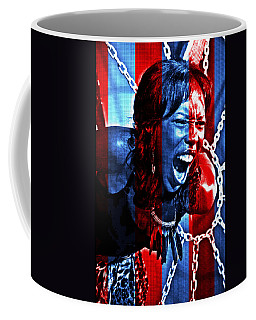 Coffee Mug featuring the photograph Anger In Red And Blue by Alice Gipson