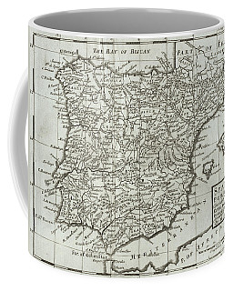 Antique Map Of Spain And Portugal Coffee Mug
