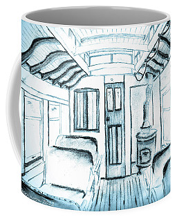 Coffee Mug featuring the drawing Antique Passenger Car by Shannon Harrington