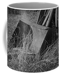 Coffee Mug featuring the photograph Antique Tractor Bucket In Black And White by Jennifer Ancker