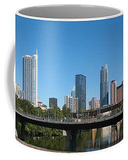 Coffee Mug featuring the photograph Austin Texas 2012 Skyline And Water Reflections by Connie Fox