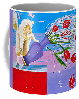 Coffee Mug featuring the painting Bad Kitty by Phyllis Kaltenbach