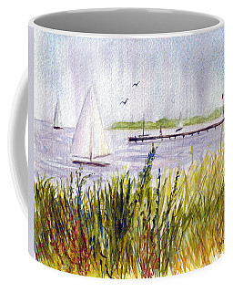 Coffee Mug featuring the painting Barnegat Sails by Clara Sue Beym