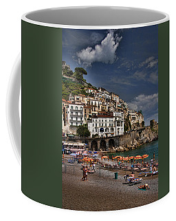 Beach Scene In Amalfi On The Amalfi Coast In Italy Coffee Mug