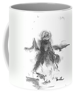 Coffee Mug featuring the drawing Being Happy by Laurie Lundquist