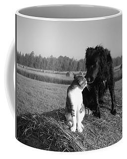 Best Buddies Black And White Coffee Mug by Kent Lorentzen