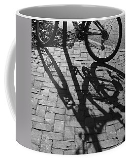 Bicycle Shadows In Black And White Coffee Mug by Suzanne Gaff