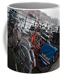 Coffee Mug featuring the digital art Bikes In Amsterdam by Carol Ailles