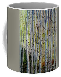 Coffee Mug featuring the painting Birch Forest by Julie Brugh Riffey