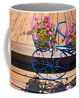 Coffee Mug featuring the photograph Blue Bicycle  by Nancy Patterson