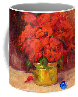 Coffee Mug featuring the painting Blue Bulb by Laura Lee Zanghetti