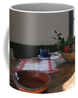 Coffee Mug featuring the photograph Blue Cup At Christmas  by Nancy Patterson