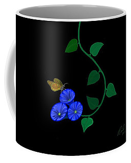 Blue Flower Butterfly Coffee Mug by Rand Herron