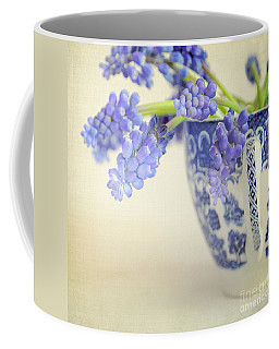 Blue Muscari Flowers In Blue And White China Cup Coffee Mug by Lyn Randle