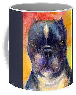Boston Terrier Dog Portrait Painting In Watercolor Coffee Mug
