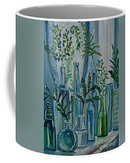 Coffee Mug featuring the painting Bottle Brigade by Julie Brugh Riffey