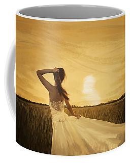 Bride In Yellow Field On Sunset  Coffee Mug