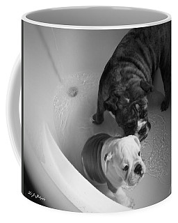 Bulldog Bath Time Coffee Mug by Jeanette C Landstrom