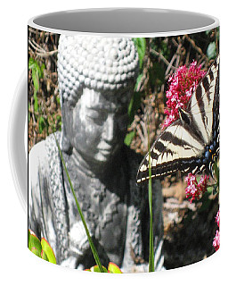 Coffee Mug featuring the photograph Butterfly And Buddha by Sue Halstenberg