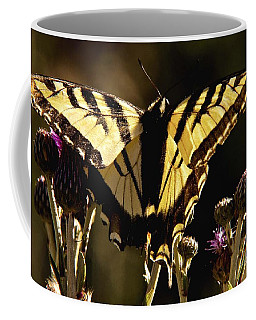 Coffee Mug featuring the photograph Butterfly And Thistle II by Angelique Olin