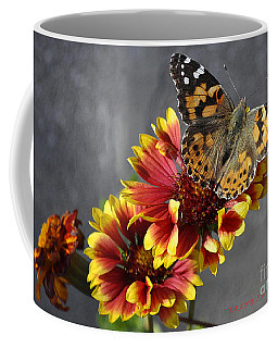 Coffee Mug featuring the photograph Butterfly On A Gaillardia by Verana Stark