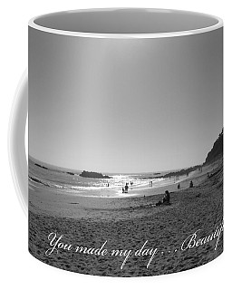 Bw Sunset Reflection At Laguna Beach With Inscription Coffee Mug by Connie Fox