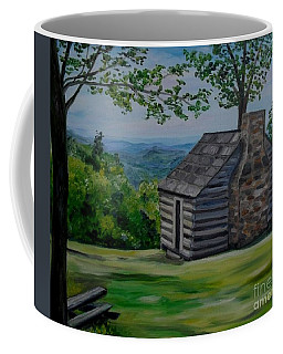 Coffee Mug featuring the painting Cabin On The Blue Ridge Parkway In Va by Julie Brugh Riffey