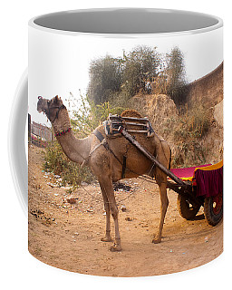 Camel Yoked To A Decorated Cart Meant For Carrying Passengers In India Coffee Mug by Ashish Agarwal