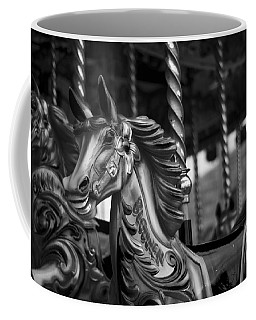 Coffee Mug featuring the photograph Carousel Horses Mono by Steve Purnell