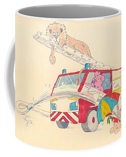 Cartoon Fire Engine And Animals Coffee Mug
