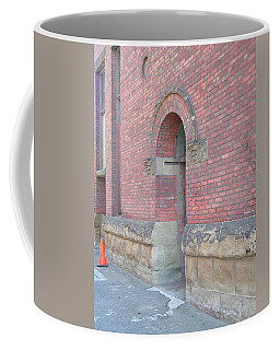 Coffee Mug featuring the photograph Caution Door by Rand Swift