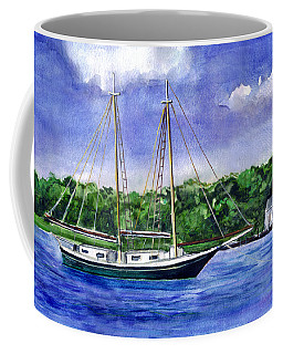 Coffee Mug featuring the painting Cedar Beach Schooner by Clara Sue Beym