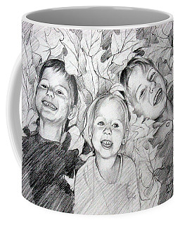 Children Playing In The Fallen Leaves Coffee Mug