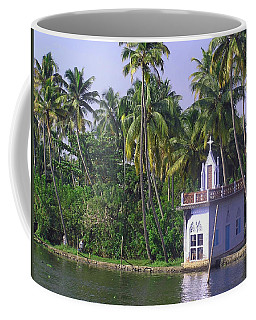 Church Located On A Coastal Lagoon In Kerala In India Coffee Mug