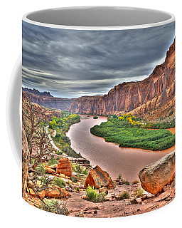 Colorado River Flows Through A Stormy Moab Portal Coffee Mug