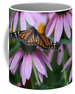 Coffee Mug featuring the photograph Cone Flowers And Monarch Butterfly by Kay Novy