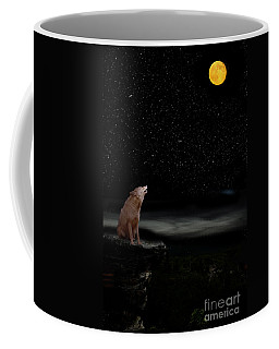 Coffee Mug featuring the photograph Coyote Howling At Moon by Dan Friend