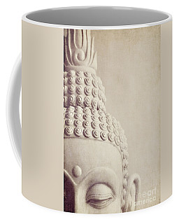 Cropped Stone Buddha Head Statue Coffee Mug by Lyn Randle