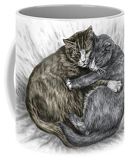 Cuddly Cats - Color Tinted Art Print Coffee Mug