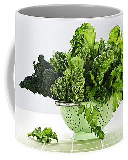 Dark Green Leafy Vegetables In Colander Coffee Mug