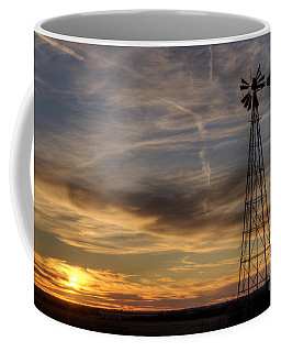 Coffee Mug featuring the photograph Dark Sunset With Windmill by Art Whitton