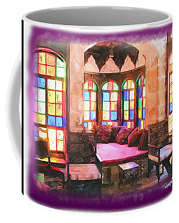 Coffee Mug featuring the photograph Do-00520 Emir Bachir Palace Interior-violet Bkgd by Digital Oil