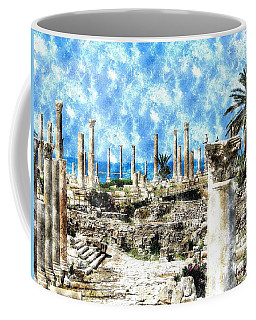 Coffee Mug featuring the photograph Do-00549 Ruins And Columns - Town Of Tyr by Digital Oil