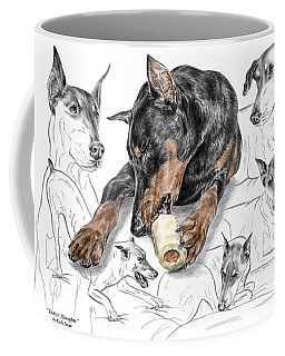 Dober-thoughts - Doberman Pinscher Montage Print Color Tinted Coffee Mug
