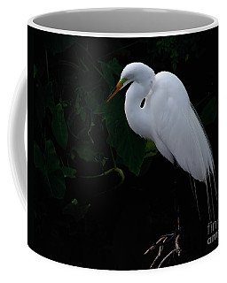 Coffee Mug featuring the photograph Egret On A Branch by Art Whitton