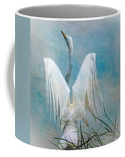 Coffee Mug featuring the photograph Egret Preparing To Launch by Chris Lord