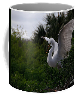 Coffee Mug featuring the photograph Egret Wings by Art Whitton