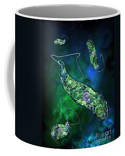 Coffee Mug featuring the digital art Euglena Blue by Russell Kightley
