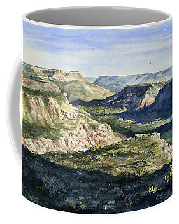 Coffee Mug featuring the painting Evening Flight Over Palo Duro Canyon by Sam Sidders