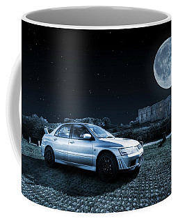 Coffee Mug featuring the photograph Evo 7 At Night by Steve Purnell